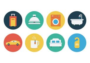 vector-free-flat-hotel-icon-set